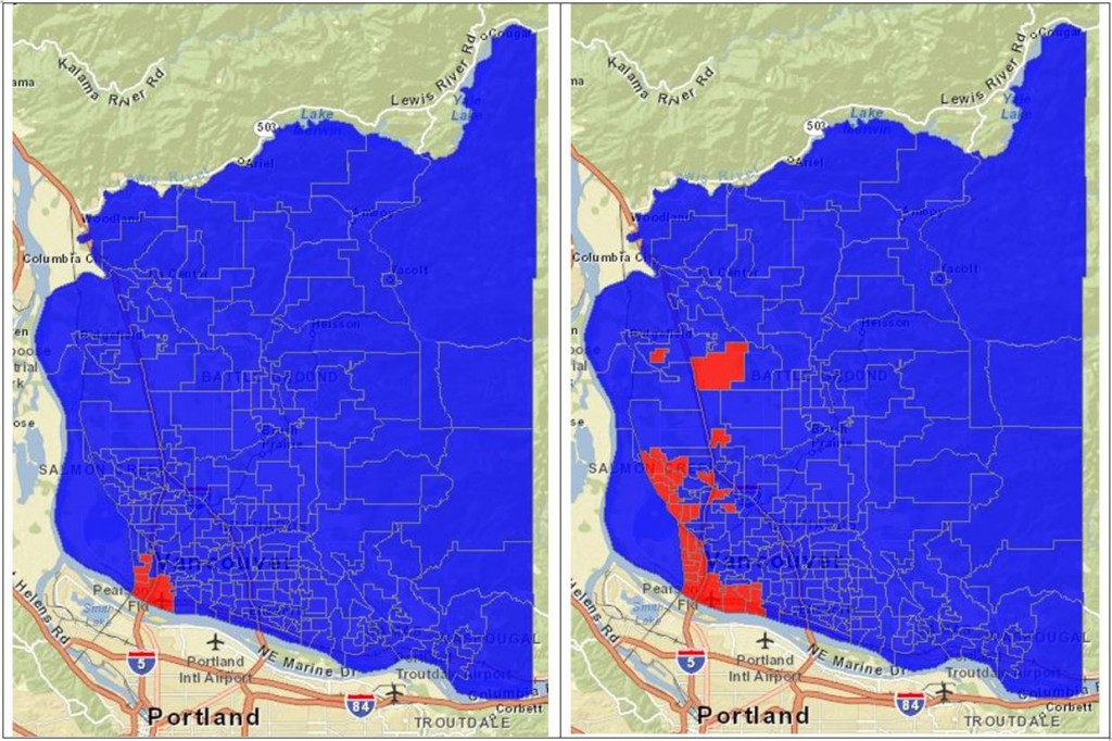 223 out of 228 precincts said No to the CRC Light Rail project on Advisory Vote#1 (left). And 198 out of 228 precincts said Yes to the toll-free East County Bridge Advisory Vote#3 (right).